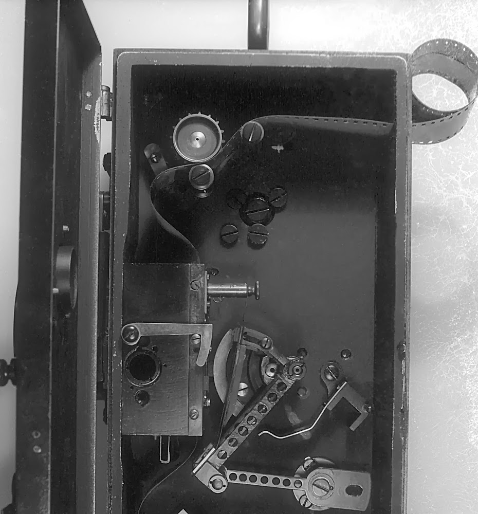 The inner mechanism of the camera with 35mm film