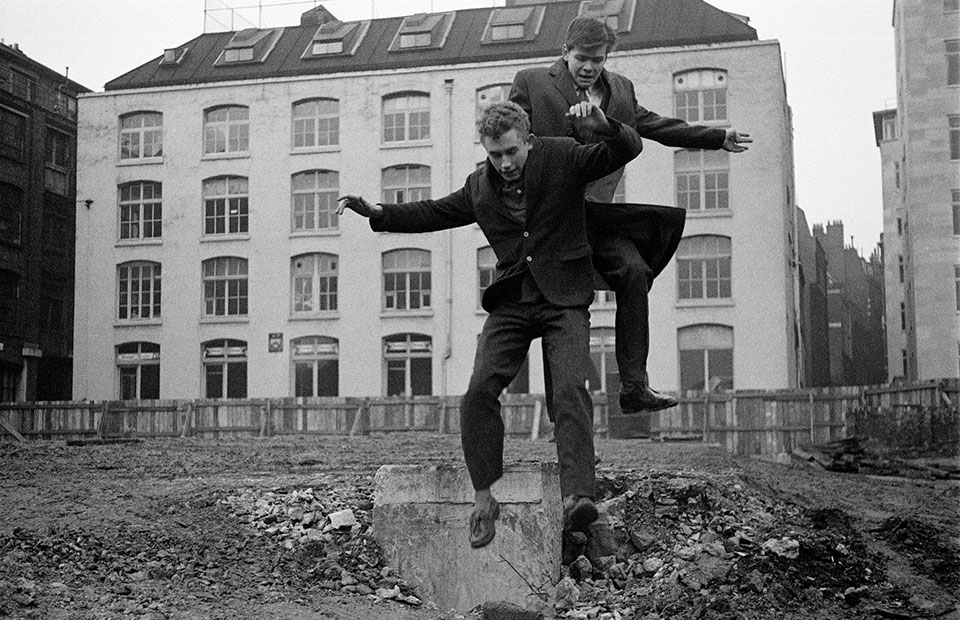 Jimmy Wragg and Bernard Roth jumping Swanns Wharf, City of London