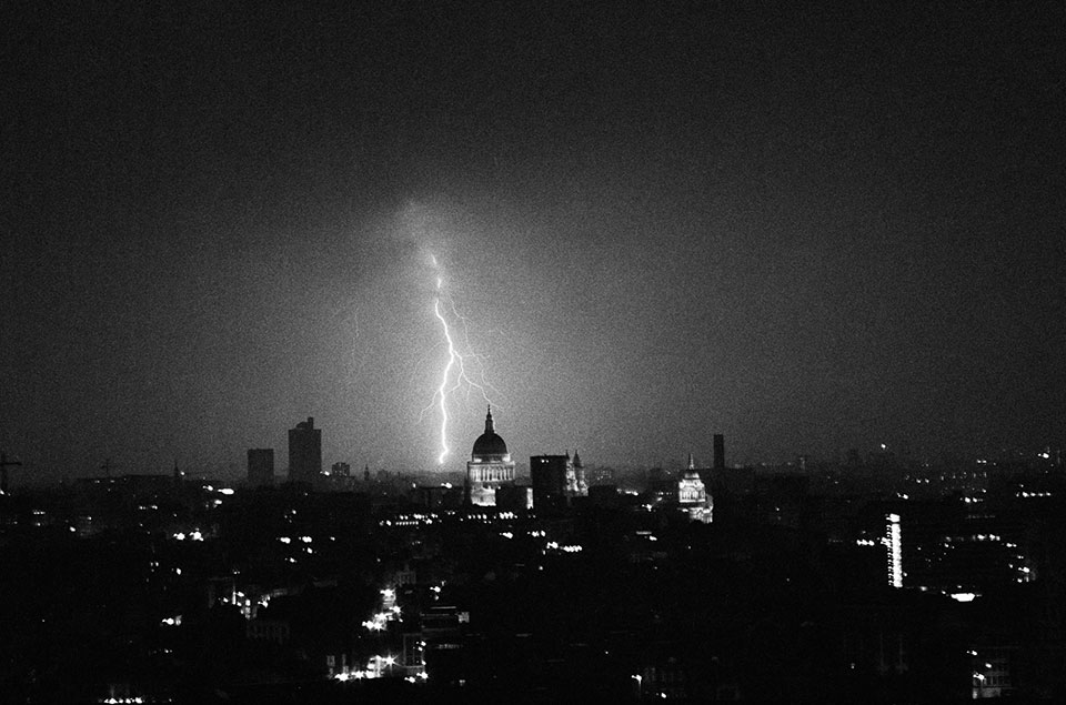 Lightning strike St Pauls Cathedral 1972